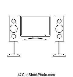 Home cinema with sound speaker icon