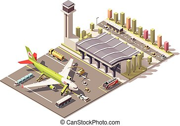 Vector isometric low poly airport terminal building with...