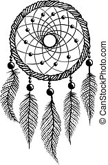 Line Art of a dreamcatcher - Drawing of a dreamcatcher with...