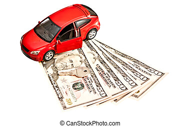 Car, key and money Concept for buying, renting, insurance,...