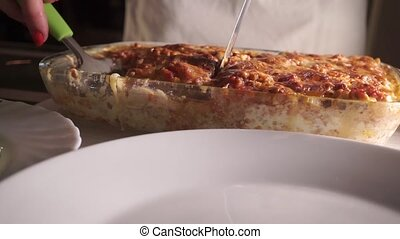 Serving of freshly baked homemade lasagna Part of a set clip...