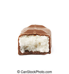 Coconut filled chocolate bar isolated