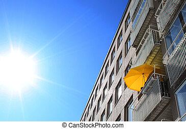 sommer, heiß, Balkon