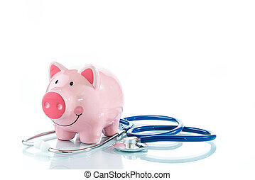 Stethoscope and piggy bank