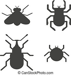 Insects black silhouette icons - Insect icons black...