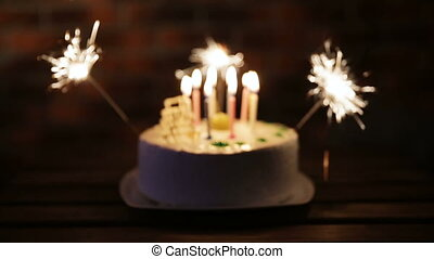 birthday cake with lots of candles - cake birthday party in...