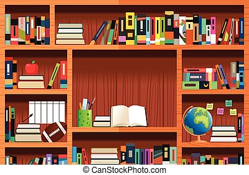 Wooden Bookshelves - A vector illustration of wooden...