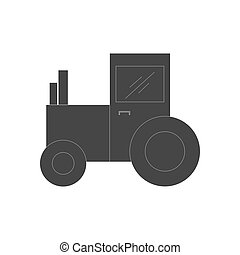Tractor silhouette vector - Tractor silhouette on a white...