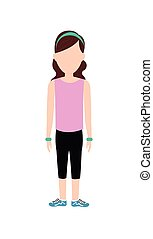 Avatar woman with sport cloth icon People design vector...