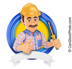 3D Logo. Electrician with screwdriver - 3d logo...
