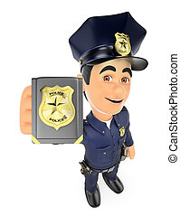 3D Policeman showing police badge
