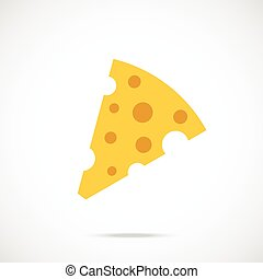 Vector cheese icon Piece of cheese - Vector cheese icon Flat...