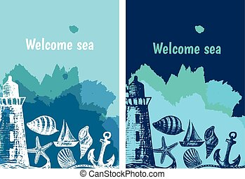 Hand drawn flyers with sings on theme sea. Vector illustration