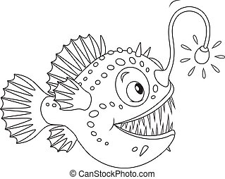 Angler - Black and white vector illustration of a deepsea...