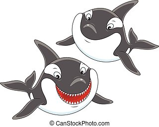 Killer whales - Vector illustration of two smiling...