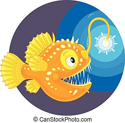 Angler - Vector illustration of a deepsea angler fish with...