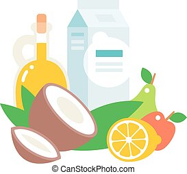 Everyday products vector illustration - Common everyday food...