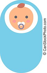 Baby kid in diaper vector illustration. - Adorable baby kid...