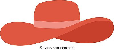 Panama red hat vector illustration - Woman panama red hat...