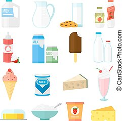 Milk products vector set - Milk products collage collection...