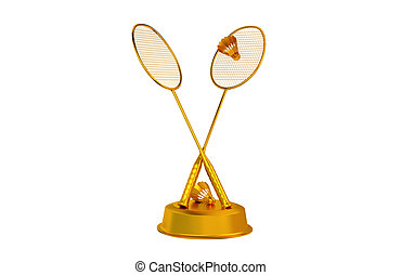 Badminton trophy in Gold with a white background