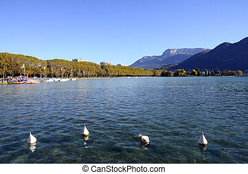 Lake in France - Overview of lake and paquier walkpath in...