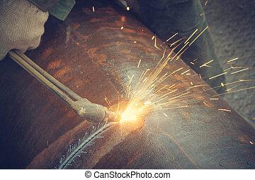 metal, corte, con, acetileno, torch.,