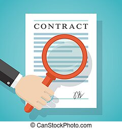 Contract inspection concept Hand holding magnifying glass...