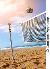 Beach Volley - Bright beach scene with a net and volley ball...