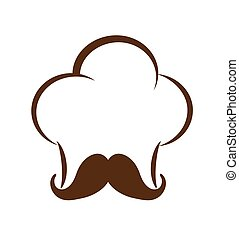 chefs hat with mustache icon Food design vector graphic -...