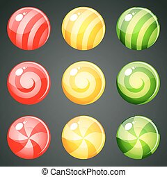 red yellow green candies - Set of red yellow green round...