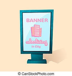 Street advertising billboard, vector illustration - Street...