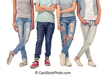 Group of teenagers - Cropped image of teenage boy and girls...