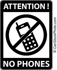 No phone, telephone prohibited symbol Vector - No phone,...