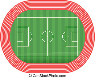 Football soccer field pitch vector with racetrack