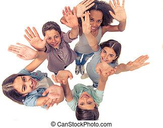 Happy teenage friends - Top view of group of teenage boys...