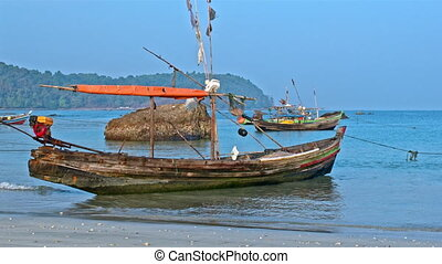 Fisherman boats on the beach - Fisherman boats on sand and...
