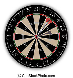 Dartboard with a dart hit on target with shiny numbers, red...