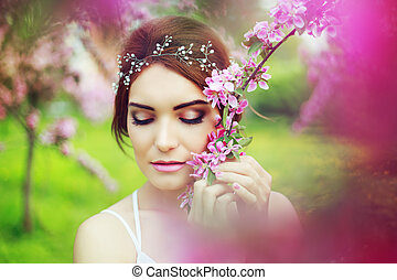 woman outdoor - beautiful woman with decoration in her hair...
