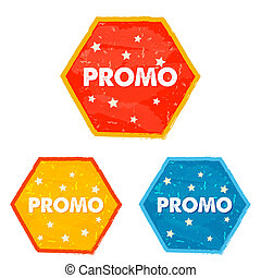 promo and stars, grunge flat design hexagons labels - promo...