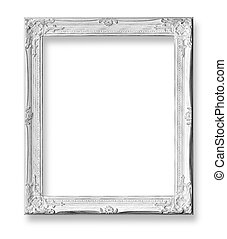 White baroque frame isolated on white background with...