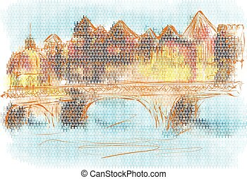 toulouse. abstract city on multicolor background