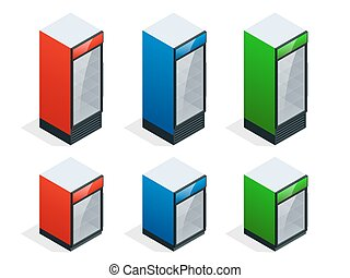 Commercial refrigerator to store drinks and perishables. Flat 3d isometric illustration.