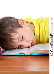 Tired Schoolboy sleeping - Tired Kid Sleep on the School...