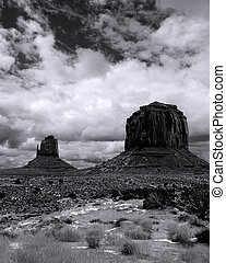 Black and White Monument Valley Cloudy Skies - Monument...