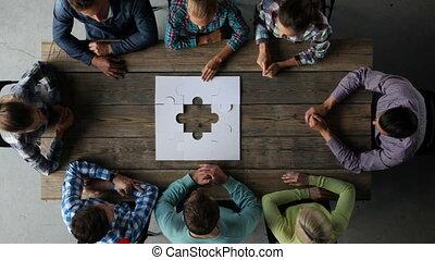 Business group assembling jigsaw pu - Hipster business...