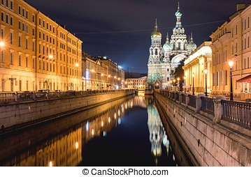 View Of Church On Spilled Blood At Night - Church Of Savior...