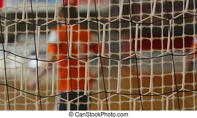 Futsal background with goalie net