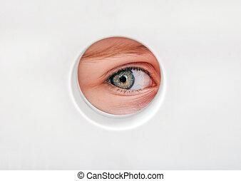 Eye in the Hole - Child Eye peeking through a Hole