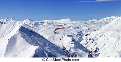 Panoramic view on speed riding in high mountains Caucasus...